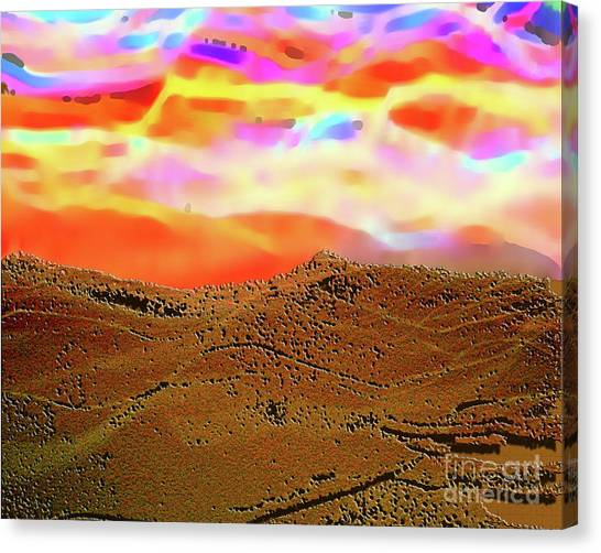 Auroa Over The Desert Canvas Print