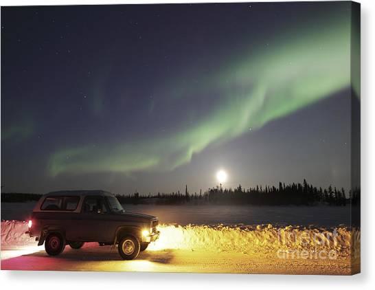 Northwest Territories Canvas Print - Aurora And Old Truck, Walsh Lake by Yuichi Takasaka