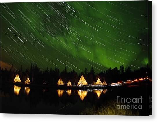 Northwest Territories Canvas Print - Aurora And Star Trails by Yuichi Takasaka