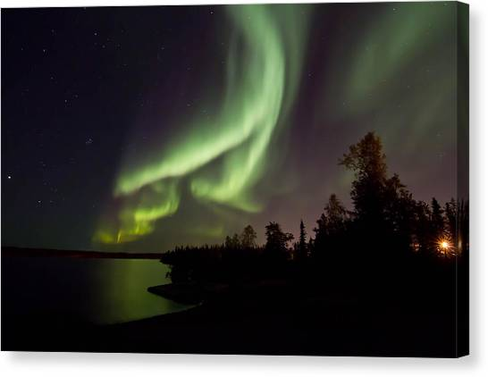 Aurora By The Lakeshore  Canvas Print