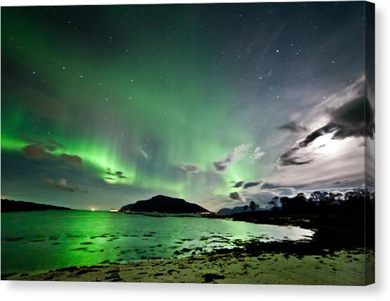 Auroras And Moon Canvas Print