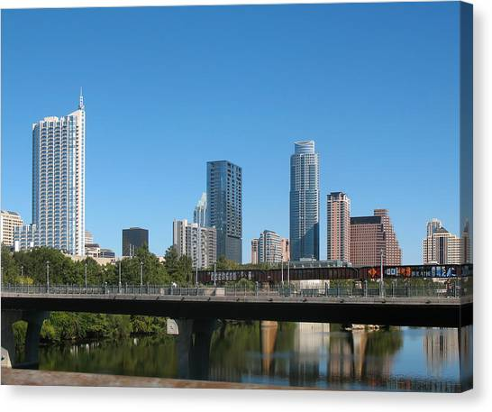 The University Of Texas Canvas Print - Austin Texas 2012 Skyline And Water Reflections by Connie Fox