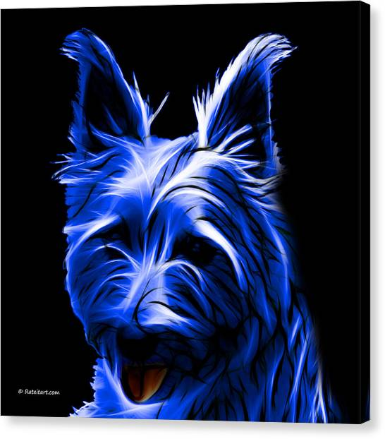 Australian Terrier Pop Art - Blue Canvas Print