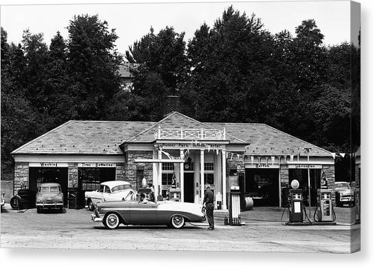 Auto At Gas Station Canvas Print by George Marks