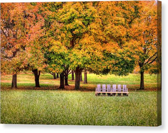 Autumn And A Bench Canvas Print