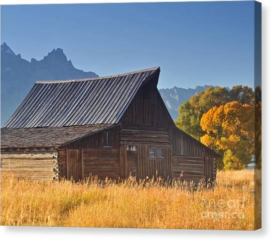 Autumn At The Barn Grand Teton National Park Canvas Print