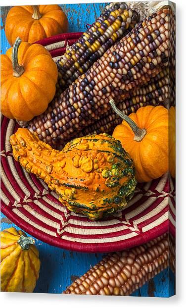 Gourds Canvas Print - Autumn Basket  by Garry Gay
