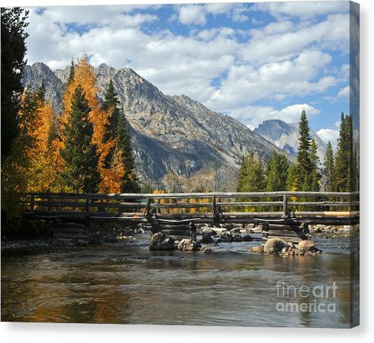 Autumn Bridges Grand Teton National Park Canvas Print