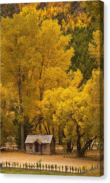 Autumn Cottage Canvas Print by Graeme Knox