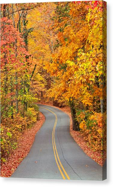 Autumn Drive Signal Mountain Canvas Print