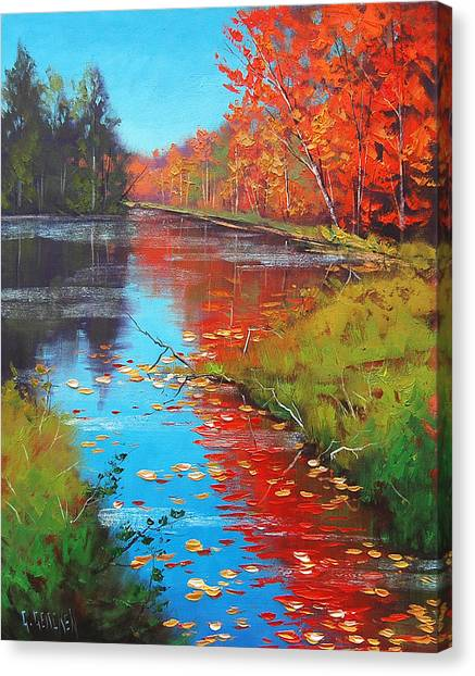 Amber Canvas Print - Autumn Fire by Graham Gercken