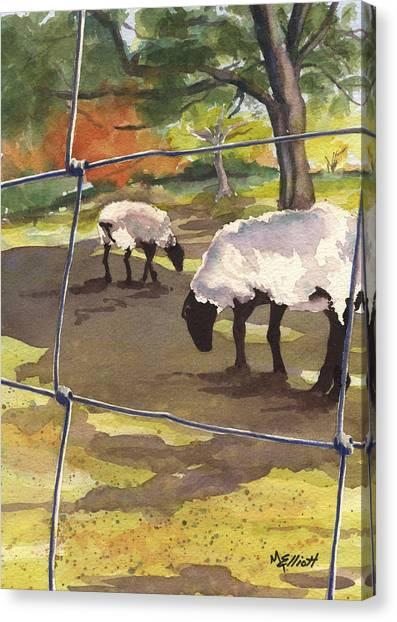 Sheep Canvas Print - Autumn Graze by Marsha Elliott