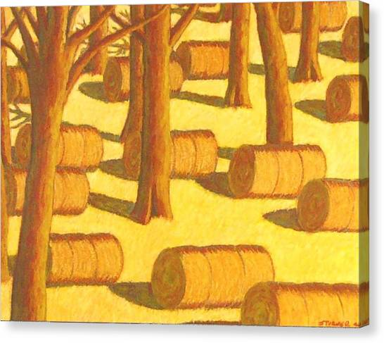 Autumn Haybales Canvas Print by John  Turner