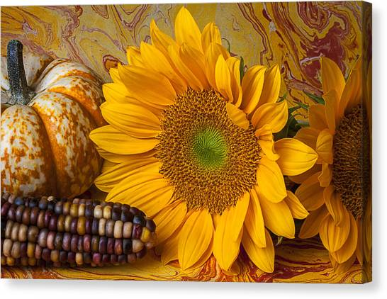 Indian Corn Canvas Print - Autumn Still Life by Garry Gay
