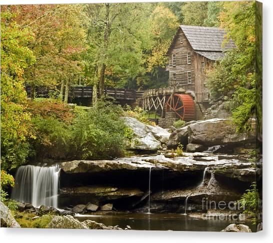 Autumn Waterfall Glade Creek Grist Mill Canvas Print