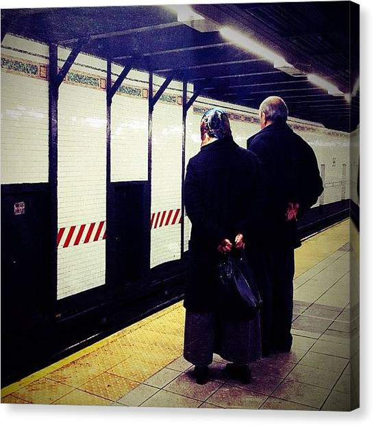 Subway Canvas Print - Awaiting The 1 by Natasha Marco