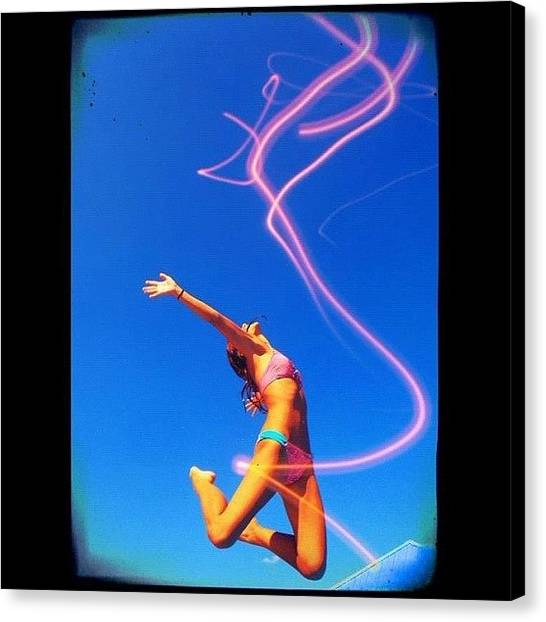 Bikini Canvas Print - #awesome #midair #fly #creative by Brittany B