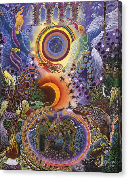 Canvas Print featuring the painting Ayahuasca Raura  by Pablo Amaringo