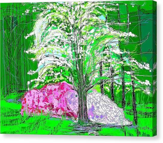 Azaleas And Dogwood Canvas Print by Alberto Lacoius-Petruccelli