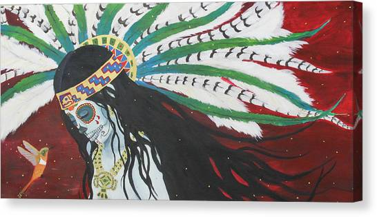 Azteca Con Hummingbird Canvas Print by Sonia Orban-Price