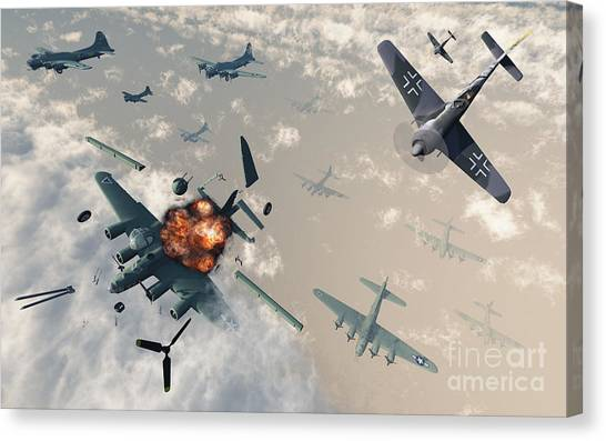 Aerial View Canvas Print - B-17 Flying Fortress Bombers Encounter by Mark Stevenson