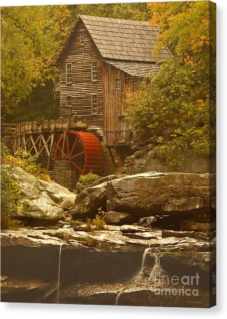 Babcock Glade Creek Grist Mill Autumn  Canvas Print