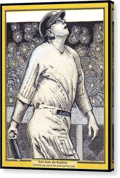 Babe Ruth Hits One Out Of The Park  Canvas Print