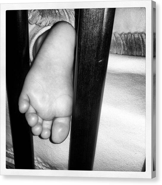 Feet Canvas Print - Baby Foot. #baby #foot #sleep #sleeping by Jess Gowan