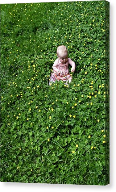 Baby In A Field Of Flowers Canvas Print