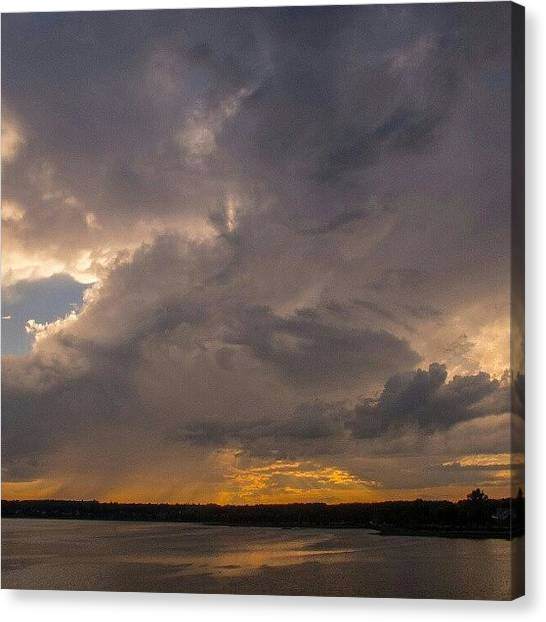 Maine Canvas Print - Back Cove Clouds #frombridge #backcove by Chris T Darling