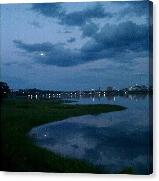 Wetlands Canvas Print - Back Cove Moon #boulevard #backcove by Chris T Darling