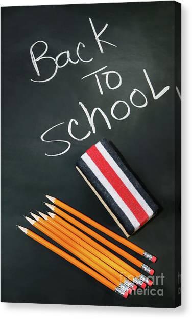 Elementary School Canvas Print - Back To School Acessories by Sandra Cunningham