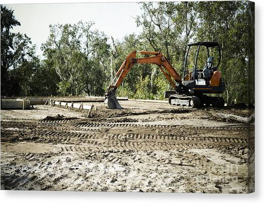 Backhoes Canvas Print - Backhoe On Construction Site by Sam Bloomberg-rissman