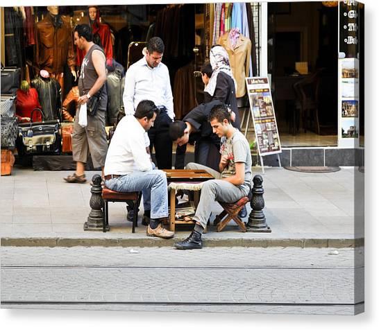 Backgammon Canvas Print - Backstreet Backgammon by Kantilal Patel