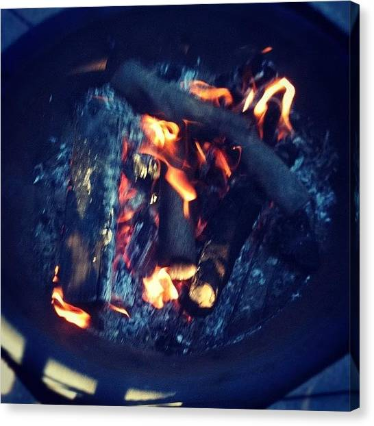 Ashes Canvas Print - Backyard Campfire by Crystal White
