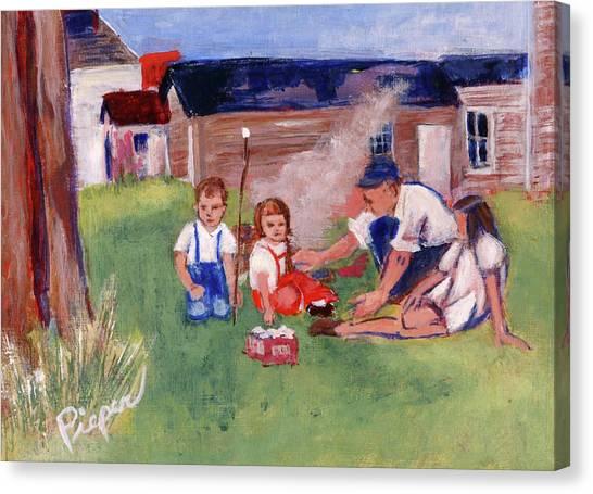 Backyard Picnic In Rural Grove Canvas Print