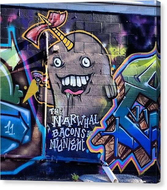 Michigan Canvas Print - #bacon #random #graffiti #msu #michigan by Simon Prickett