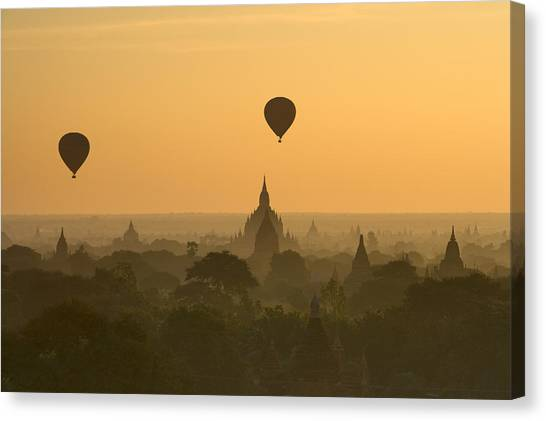 Sunrise Canvas Print - Bagan Pagodas In The Morning by Gavriel Jecan