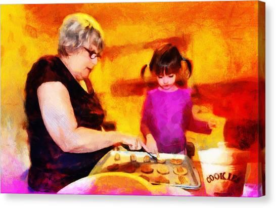 Grandma Canvas Print - Baking Cookies With Grandma by Nikki Marie Smith