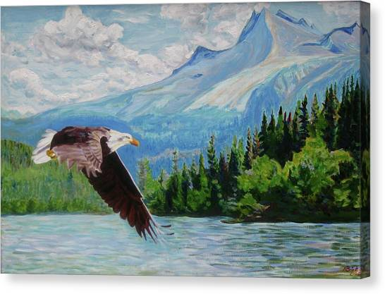 Bald Eagle Fishing Canvas Print