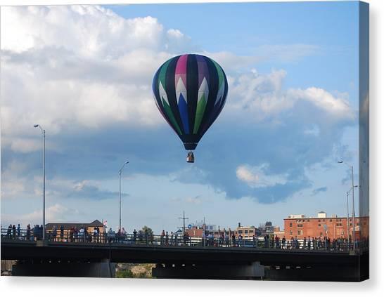 Balloon Over The Bridge Canvas Print by Alan Holbrook