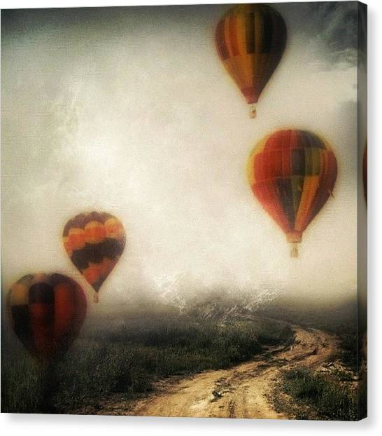 Hot Air Balloons Canvas Print - Balloons On A Country Road by Susan Libby