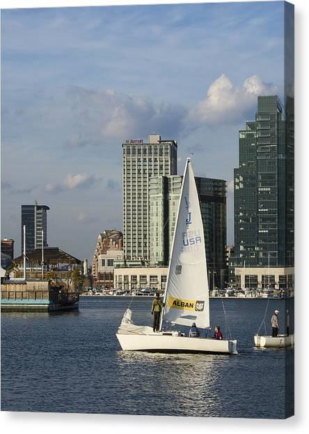 Baltimore Sail Boat - Maryland Canvas Print by Brendan Reals