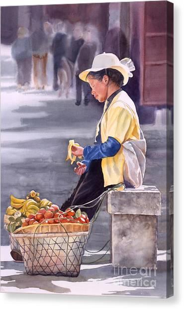Chinese Canvas Print - Banana Break by Sharon Freeman