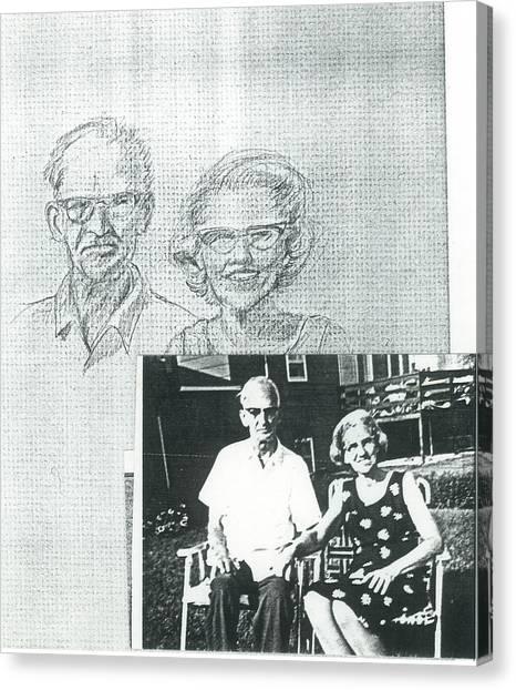 Bank Gal Parents Portrait Canvas Print by Valerie VanOrden