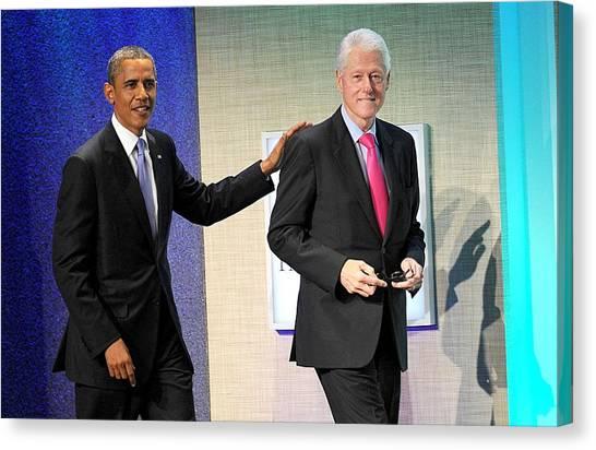 Bill Clinton Canvas Print - Barack Obama, Bill Clinton At A Public by Everett