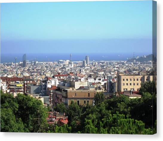 Barcelona Close Up View From Park Guell In Spain Canvas Print by John Shiron