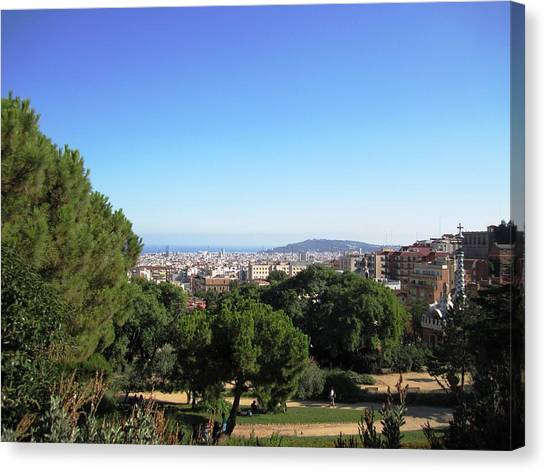 Barcelona Panoramic View From Park Guell In Spain Canvas Print by John Shiron