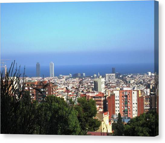 Barcelona Panoramic View IIi From Park Guell In Spain Canvas Print by John Shiron