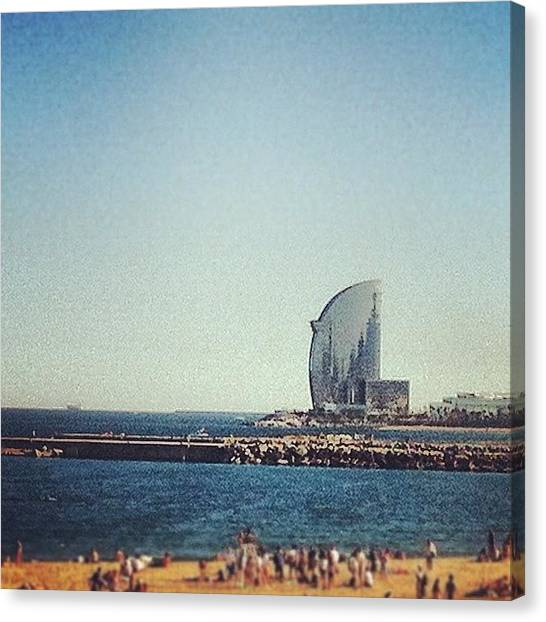 Sailboats Canvas Print - Barceloneta by Marce HH
